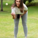 Lauren Goodger in a Gray Leggings Plays with Her Dog in a Park in Essex