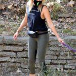 Malin Akerman in a Black Top Walks Her Dog in Los Feliz