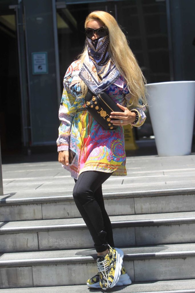 Marcela Iglesias in a Full Colour Versace Shirt