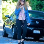 Maria Shriver in a Blue Denim Jacket Chats on Her Phone in Brentwood