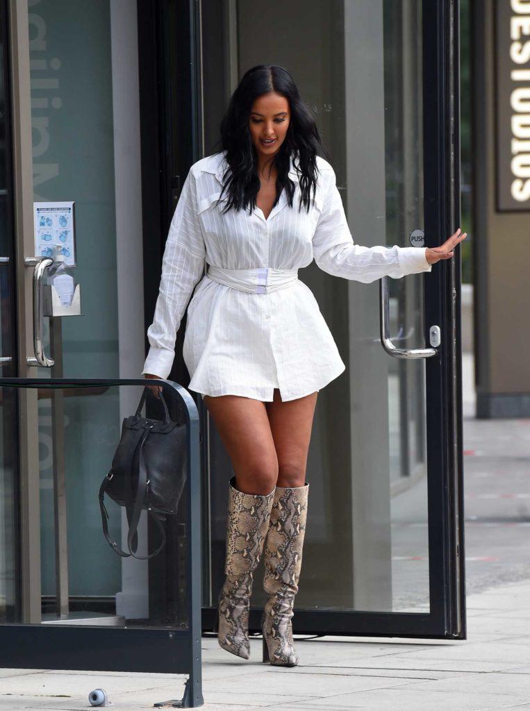 Maya Jama in a White Shirt Dress