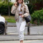 Molly Smith in a Beige Jacket Leaves a Beauty Cutie Hair Salon in Wilmslow