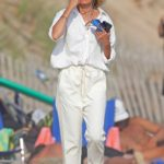 Naomi Watts in a White Shirt Was Seen on the Beach in The Hamptons, New York