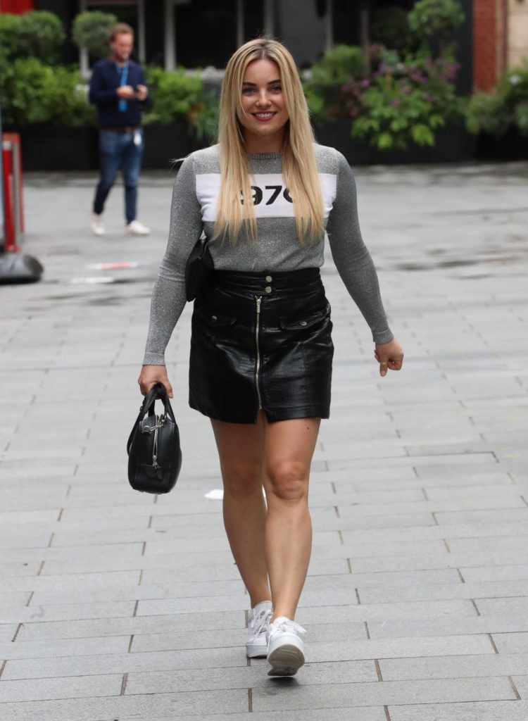 Sian Welby in a Leather Mini Skirt