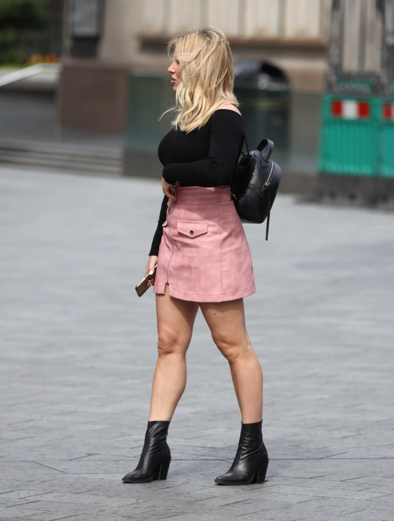 Sian Welby in a Pink Mini Skirt