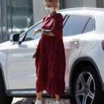 Tina Louise in a Red Dress Out Shopping at Stella McCartney for a New Outfit in Los Angeles
