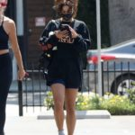 Vanessa Hudgens in a Black Sweatshirt Leaves a Gym in Los Angeles