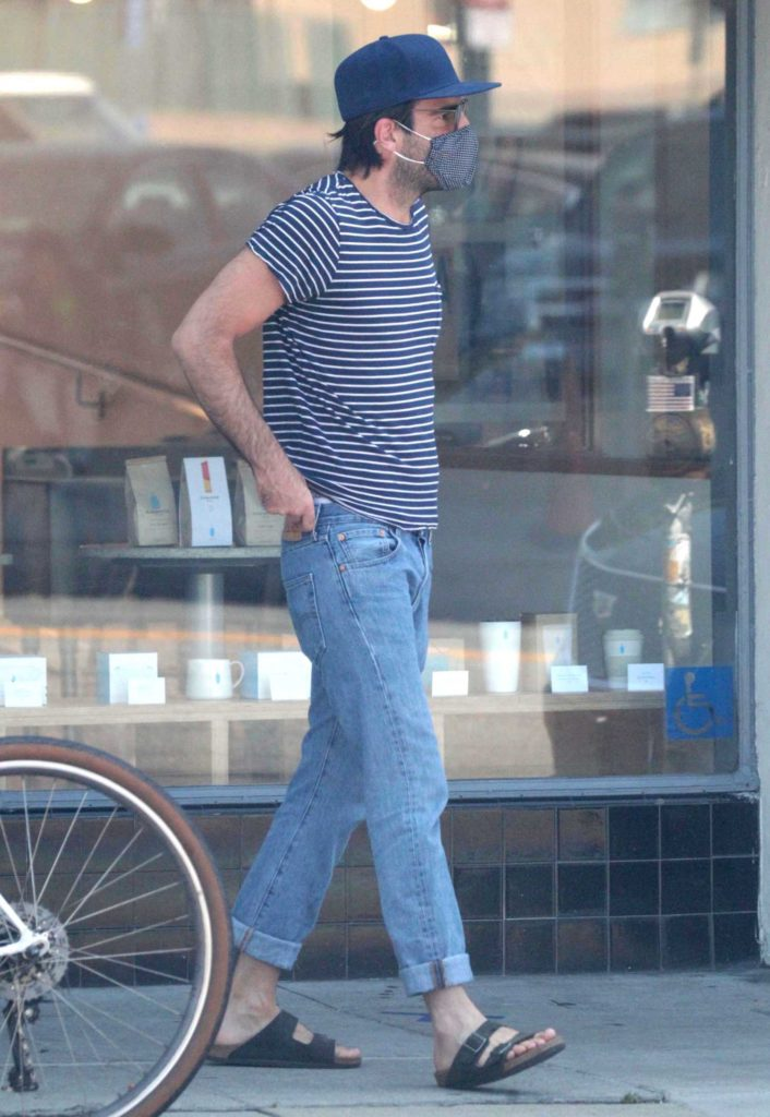 Zachary Quinto in a Striped Tee