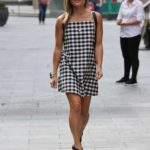 Zoe Hardman in a Plaid Gingham Dress Exits the Heart Radio in London