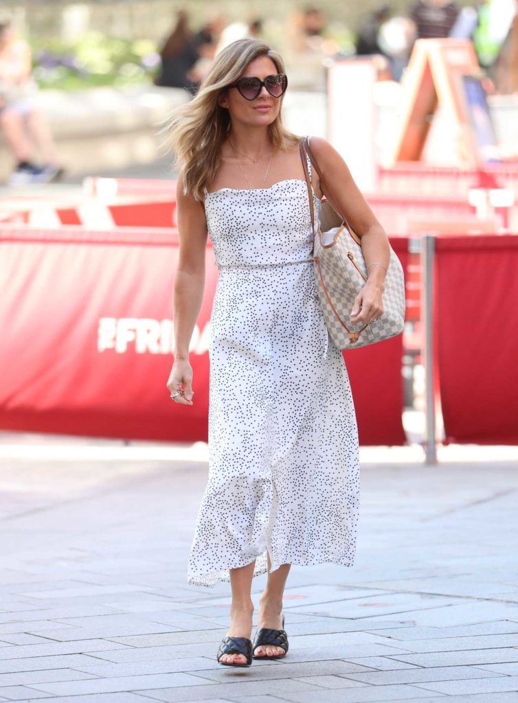 Zoe Hardman in a White Dotted Summer Dress