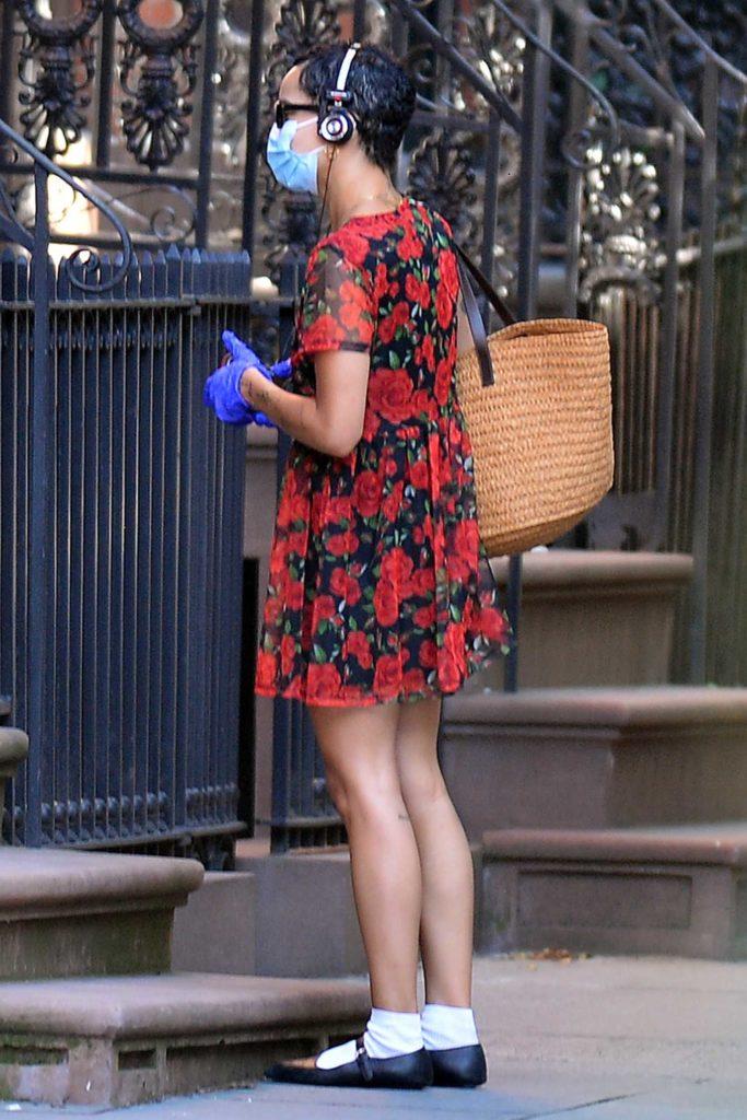 Zoe Kravitz in a Floral Dress