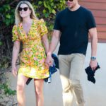 Ali Larter in a Yellow Floral Dress Goes to a Friends House in Malibu