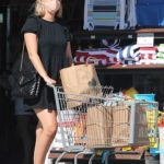 April Love Geary in a Black Dress Shops for Groceries at Starbucks in Malibu