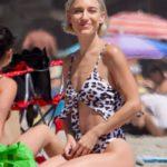 Aree Gearhart in an Animal Print Bikini on the Beach in Malibu