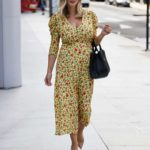 Ashley James in a Yellow Floral Dress Heads Home from Jeremy Vine Show in London
