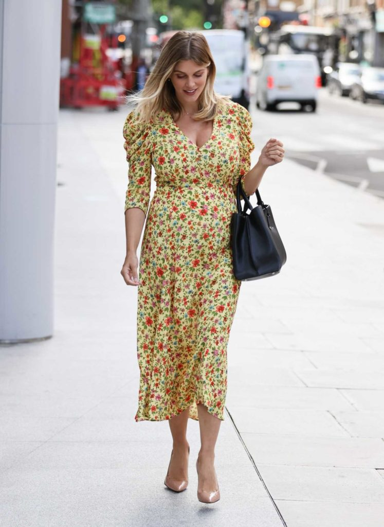 Ashley James in a Yellow Floral Dress
