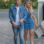 Bianca Gascoigne in a Blue Denim Dress Was Seen Out with Kris Boyson in Essex