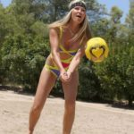 Caprice Bourret in a a Full Colour Swimsuit Plays Volleyball on the Beach in Ibiza