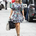 Charlotte Hawkins in a Gray Floral Mini Dress Arrives at the Global Radio Studios in London