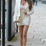 Chloe Sims in a White Blazer Arrives at the Montcalm Hotel Finsbury Square in London