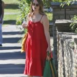 Claire Foy in a Red Summer Dress Was Seen Out in London