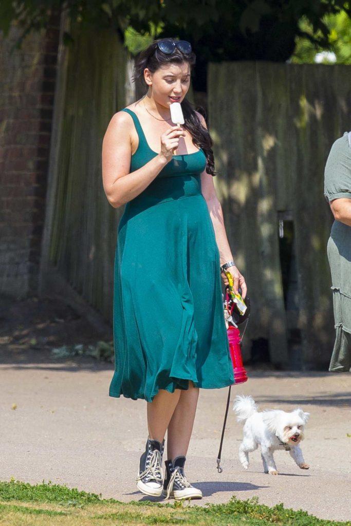 Daisy Lowe in a Green Dress