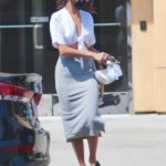 Eiza Gonzalez in a Grey Pencil Skirt Leaves a Lunch Meeting in Studio City