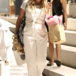 Emily Atack in a White Outfit Leaves White City House in London