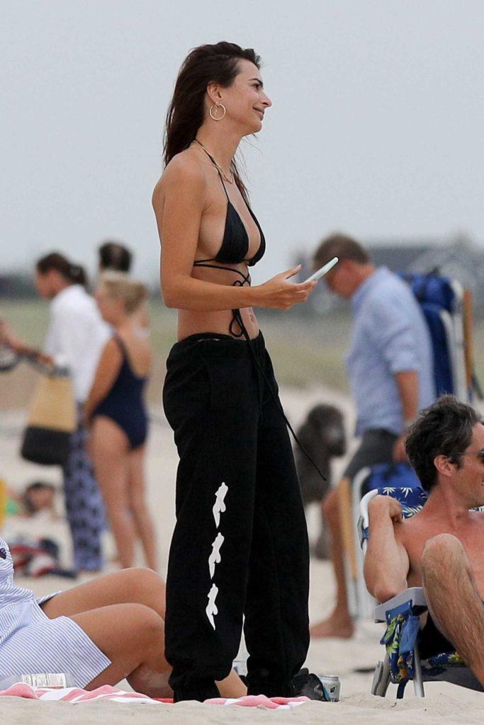 Emily Ratajkowski in a Black Bikini Top