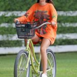 Emily Ratajkowski in an Orange Long Sleeves T-Shirt Does a Bike Ride in the Hamptons, NYC