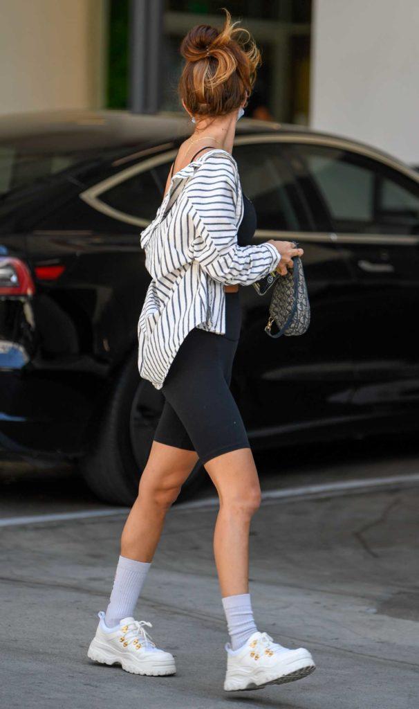 Francesca Farago in a Black Spandex Shorts