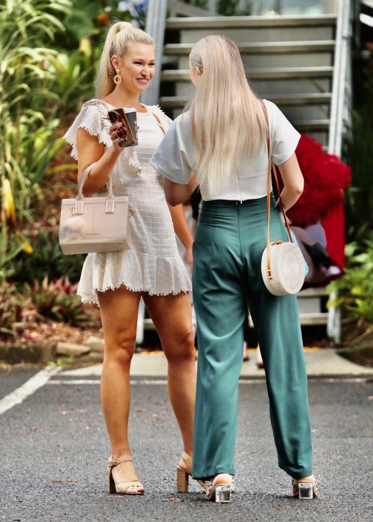 Gemma White in a Beige Mini Dress