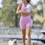 Gemma White in a Pink Workout Clothes Goes Jogging in Gold Coast
