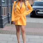 Georgia Kousoulou in a Yellow Blazer on the Set of The Only Way is Essex TV Show in Essex