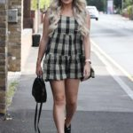 Georgia Kousoulou in a Plaid Mini Dress Was Seen Out in Essex