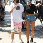 Hailey Bieber in a Blue Shorts Was Seen Out with Justin Bieber in West Hollywood