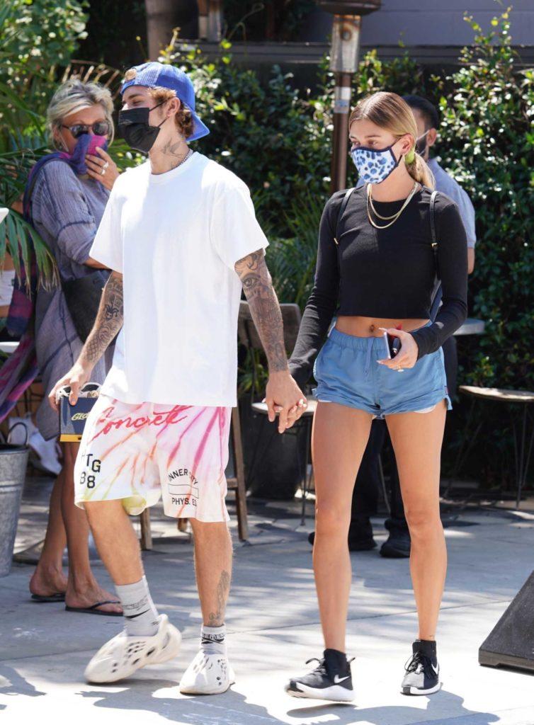 Hailey Bieber in a Blue Shorts