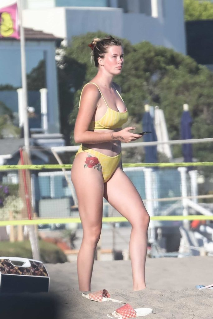 Ireland Baldwin in a Yellow Bikini