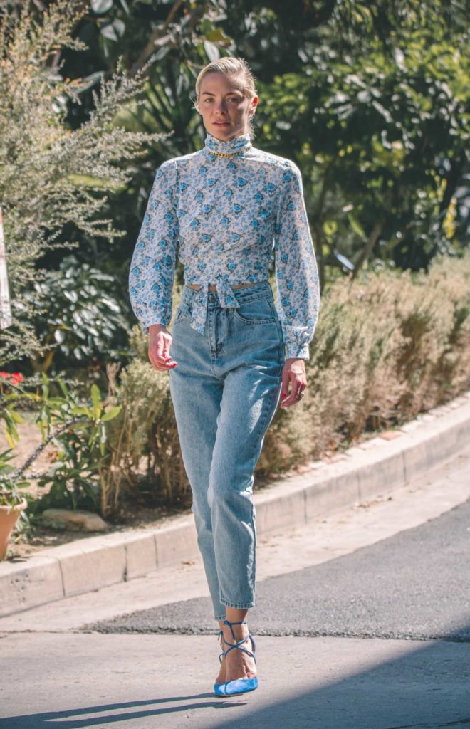 Jaime King in a Blue Floral Blouse