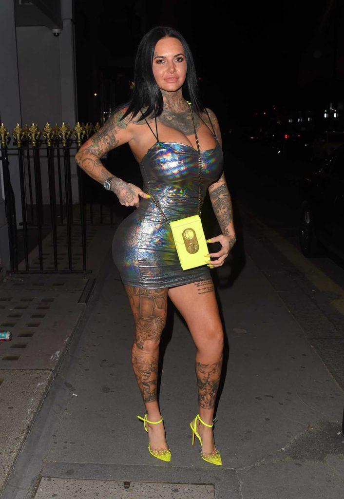 Jemma Lucy in a Silver Mini Dress