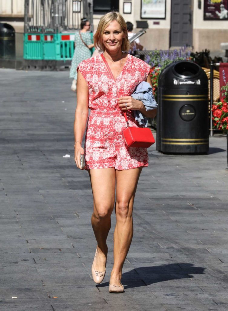 Jenni Falconer in a Red Shorts Jumpsuit