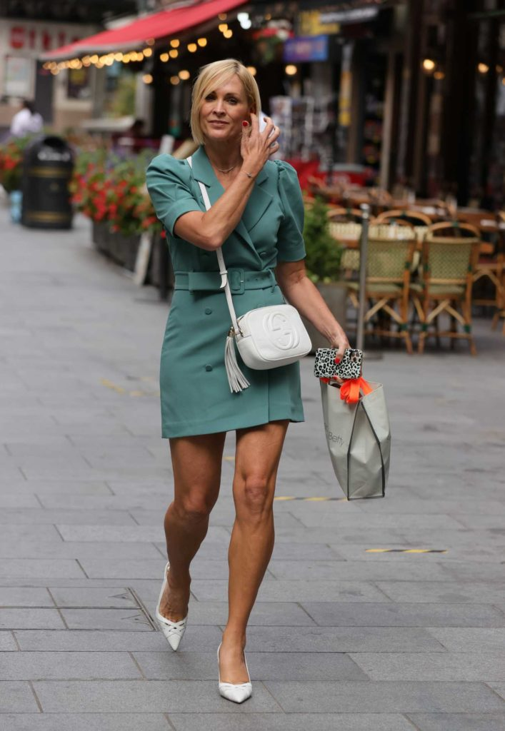 Jenni Falconer in a White High Heel Shoes