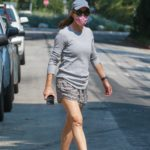 Jennifer Garner in a Grey Cap Checks Out the Construction Site of Her New Home in Brentwood
