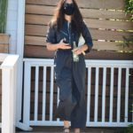 Jessica Gomes in a Black Protective Mask Leaves Madre Mexican Restaurant in West Hollywood