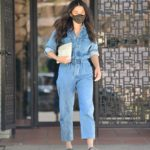 Jessica Gomes in a Denim Jumpsuit Leaves a Tennis Lesson in Beverly Hills