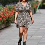 Kelly Brook in a Floral Print Mini Dress Leaves the Heart Radio in London