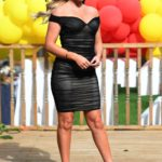 Kelsey Stratford in a Black Dress on the Set of The Only Way is Essex TV Show in Essex