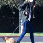 Lady Victoria Hervey in a Black Cap Walks Her Dog in Los Angeles