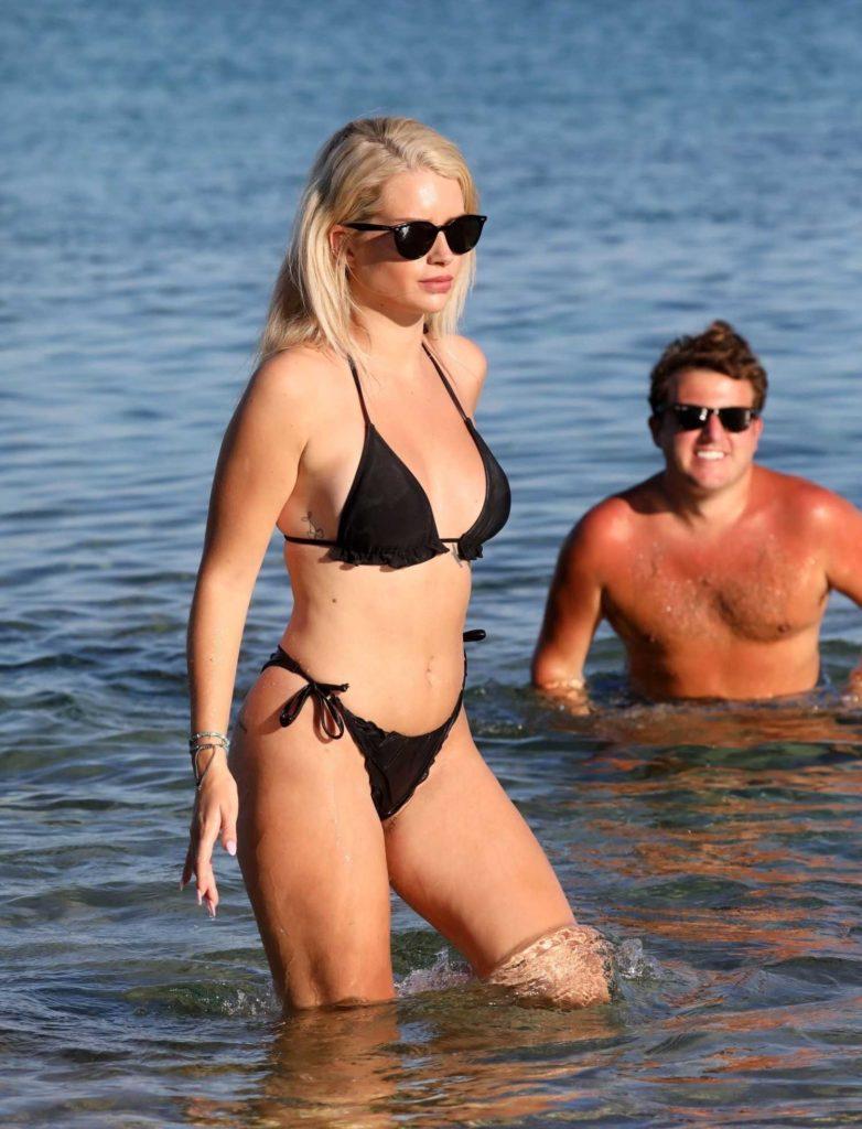 Lottie Moss in a Black Bikini