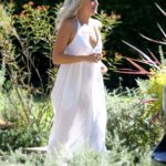 Malin Akerman in a White Summer Dress Visits Some Friends in Los Feliz